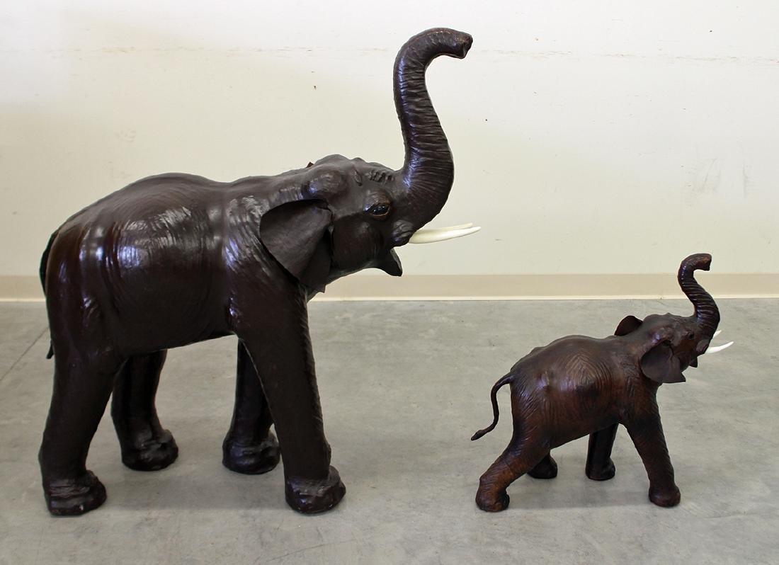 (2) LEATHER ELEPHANTS - 3