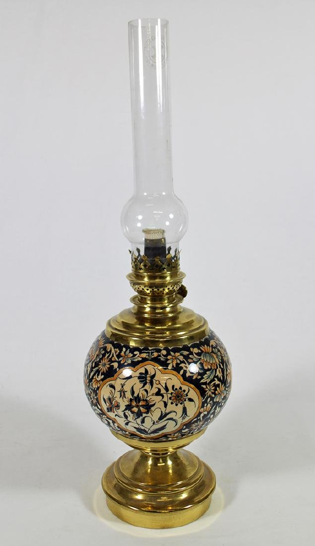 FRENCH ENAMEL OIL LAMP