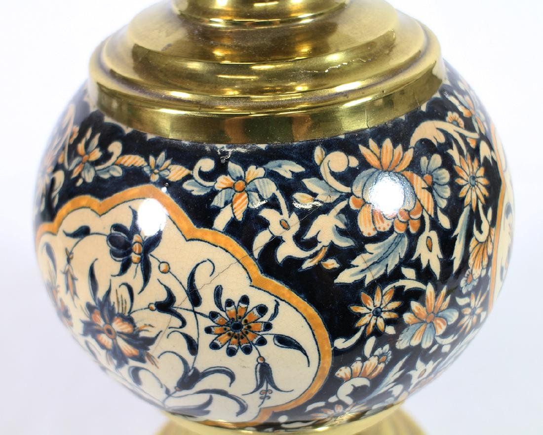 FRENCH ENAMEL OIL LAMP - 3