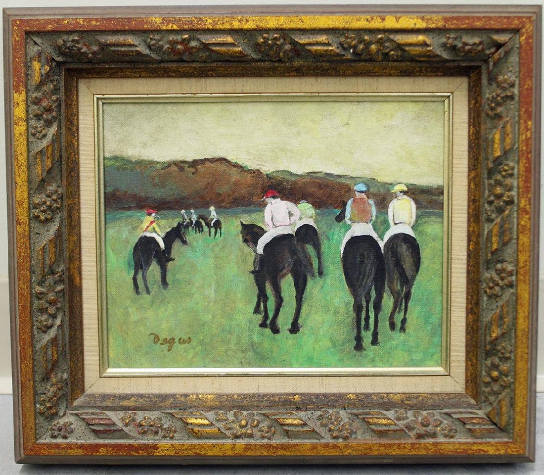AFTER DEGAS HORSE RACING PAINTING