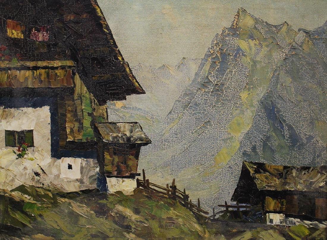MOUNTAIN VILLAGE PAINTING ILLEGIBLY SIGNED