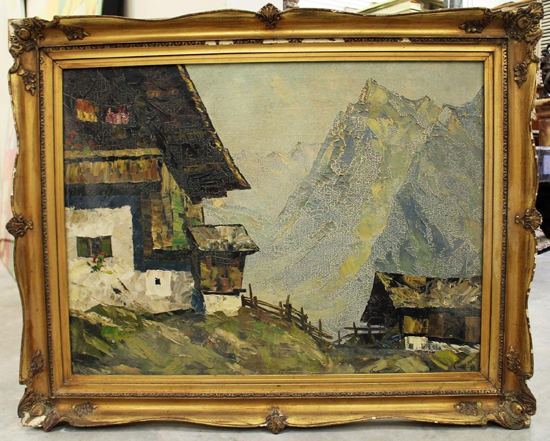 MOUNTAIN VILLAGE PAINTING ILLEGIBLY SIGNED - 5