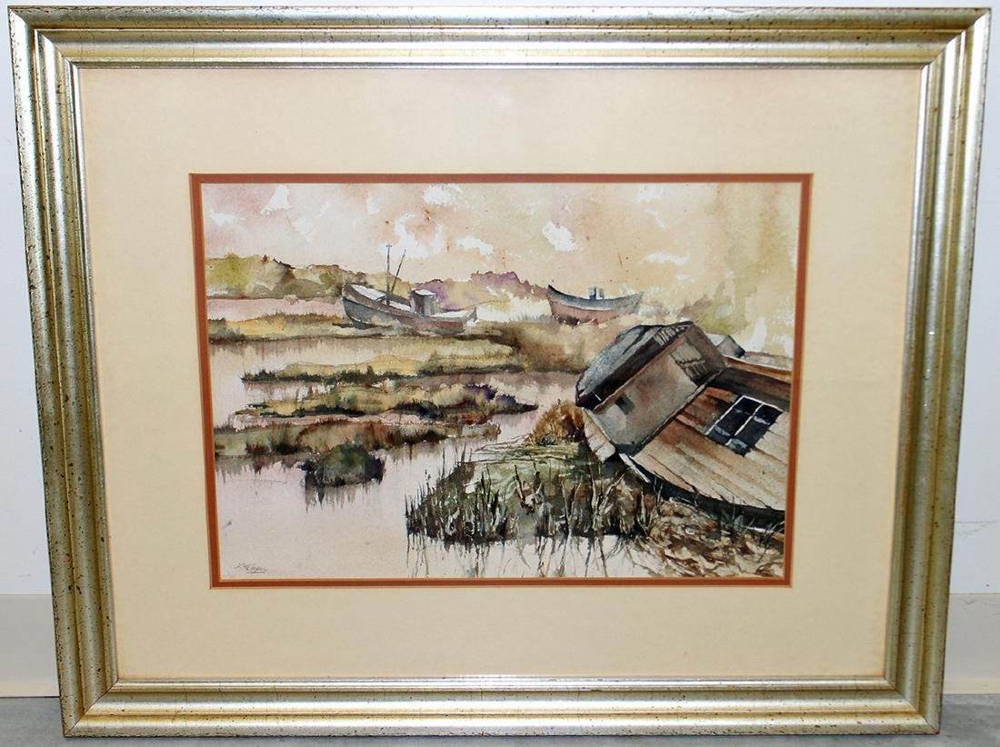 WATERCOLOR BY L.M. COOPER - FISHING BOATS