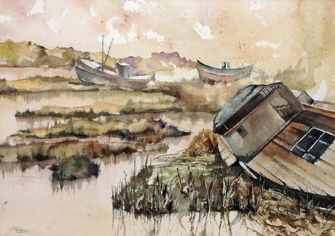 WATERCOLOR BY L.M. COOPER - FISHING BOATS - 2