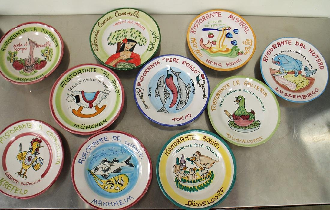 (21) ITALIAN POTTERY WORLD RESTAURANT PLATES - 3
