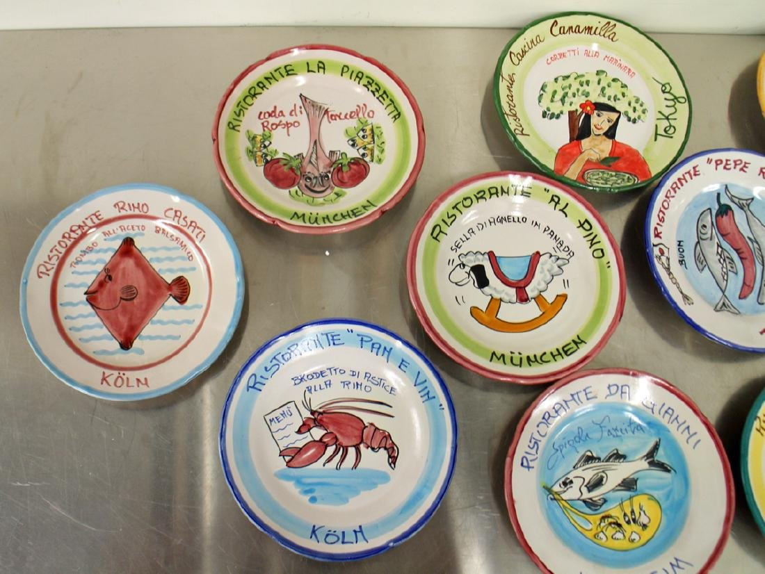 (21) ITALIAN POTTERY WORLD RESTAURANT PLATES - 4