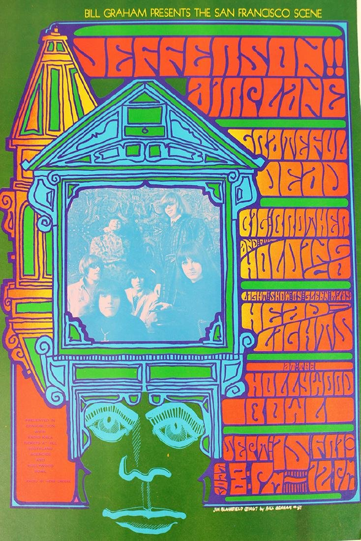 1967 GRATEFUL DEAD JEFFERSON AIRPLANE POSTER - 2