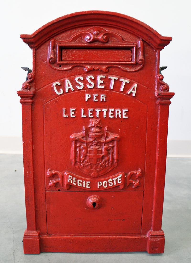 ANTIQUE ITALIAN CAST IRON MAILBOX