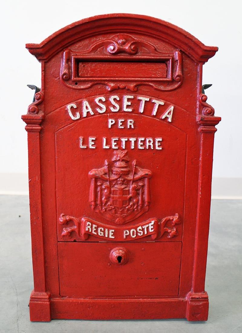 ANTIQUE ITALIAN CAST IRON MAILBOX