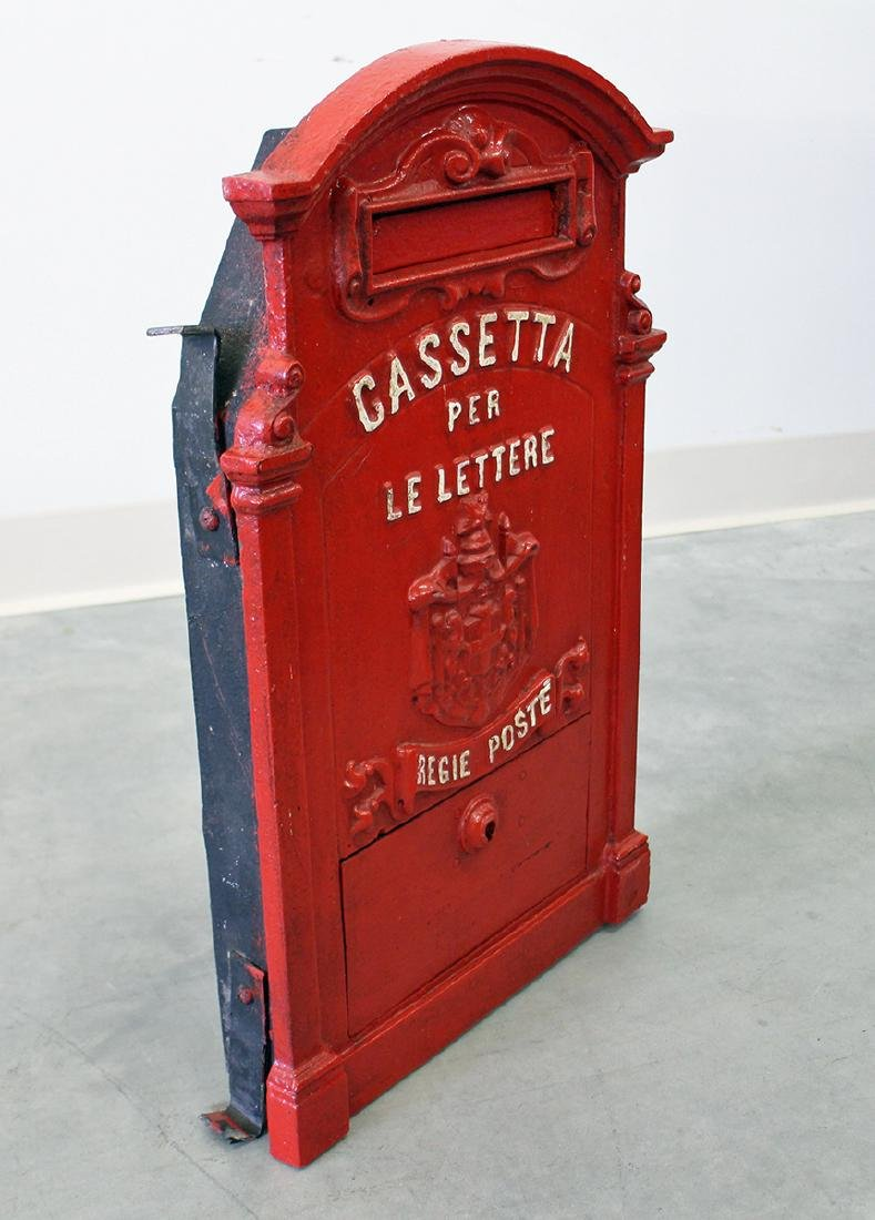 ANTIQUE ITALIAN CAST IRON MAILBOX - 2
