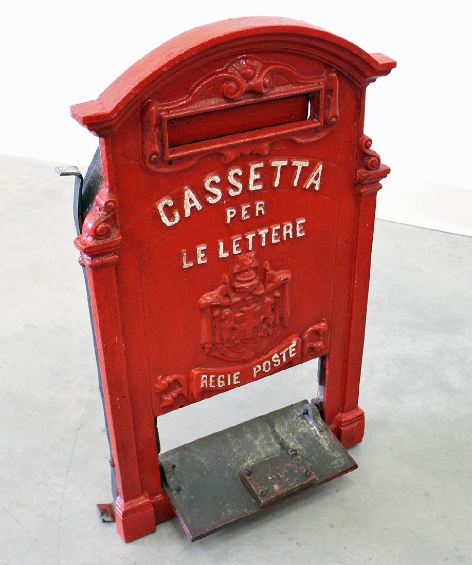 ANTIQUE ITALIAN CAST IRON MAILBOX - 3