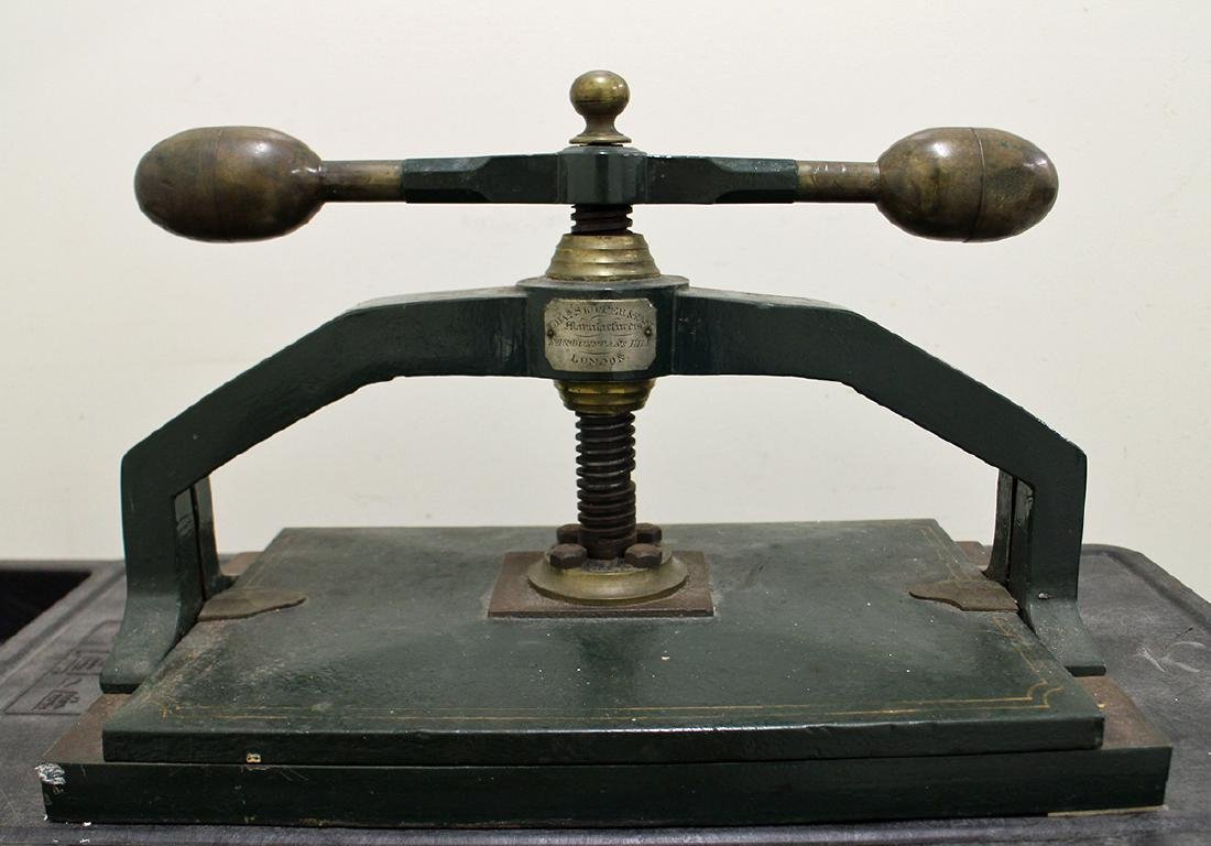 ANTIQUE ENGLISH IRON BOOK PRESS