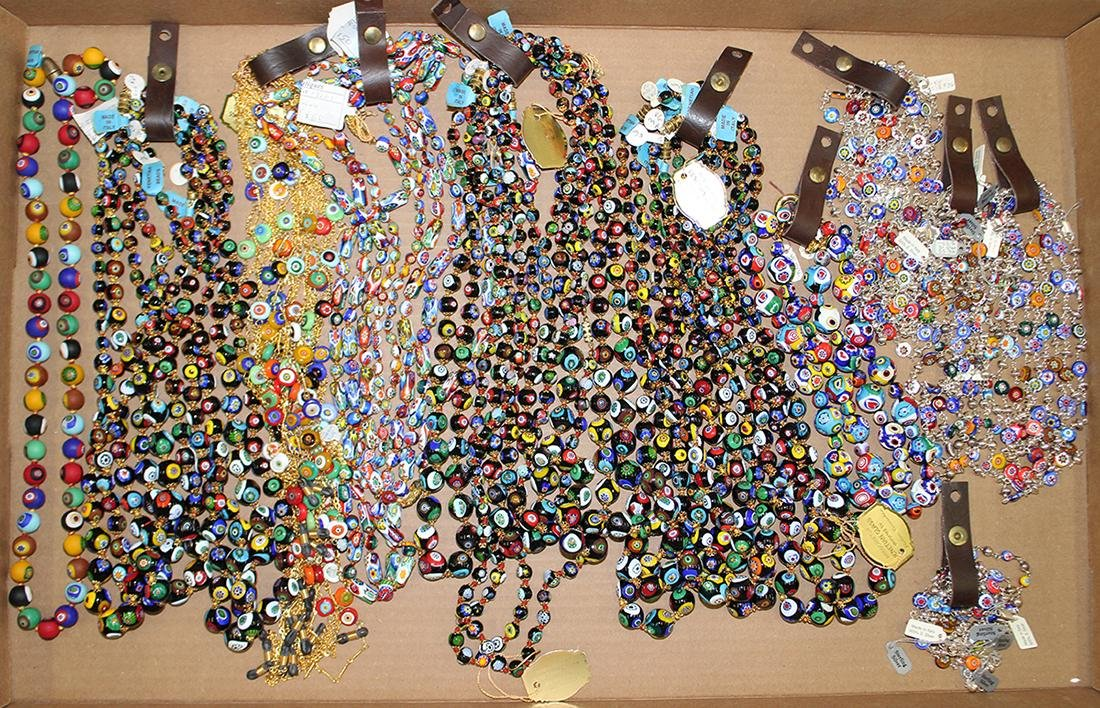 50+ ITALIAN MILLIFIORI BEADED NECKLACES & STERLING
