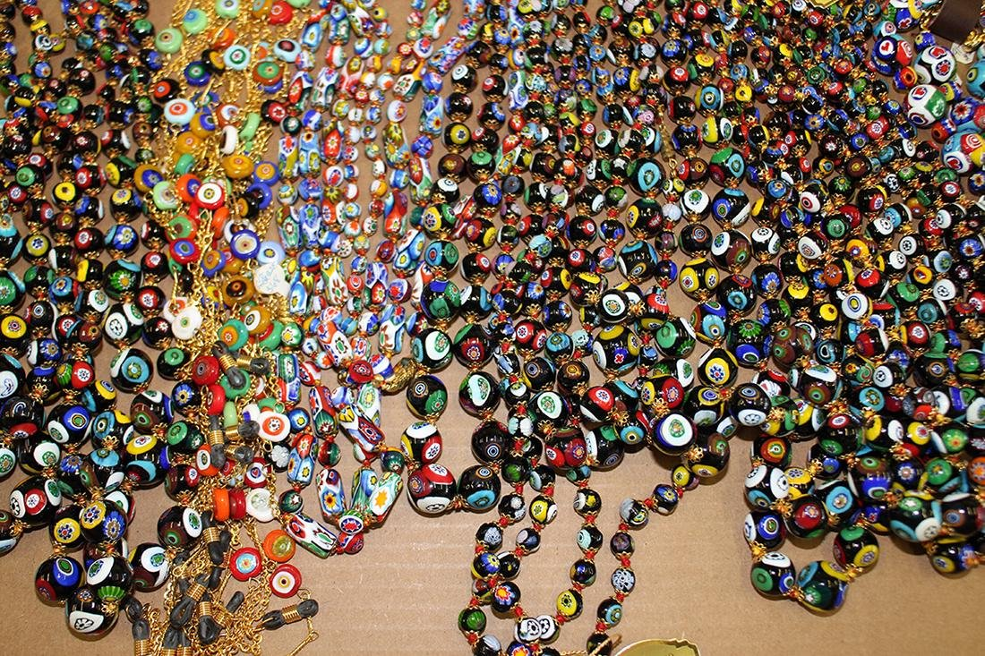 50+ ITALIAN MILLIFIORI BEADED NECKLACES & STERLING - 4