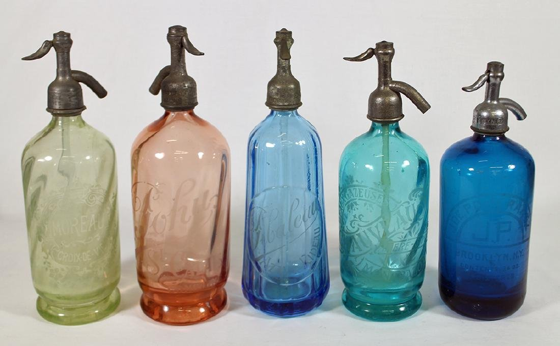 (5) ANTIQUE COLORED GLASS SELTZER BOTTLES