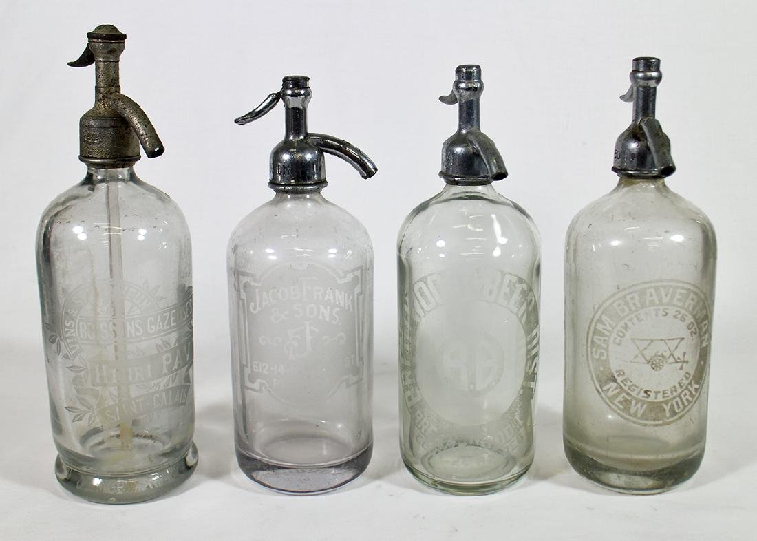 (4) ANTIQUE CLEAR GLASS SELTZER BOTTLES