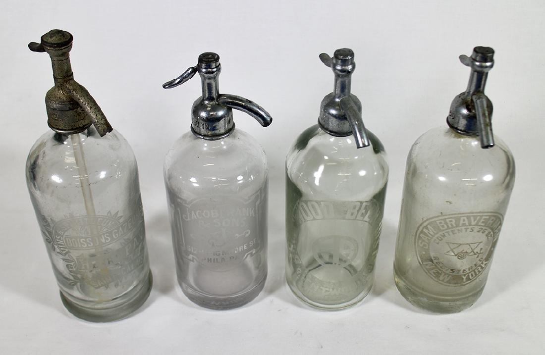 (4) ANTIQUE CLEAR GLASS SELTZER BOTTLES - 2
