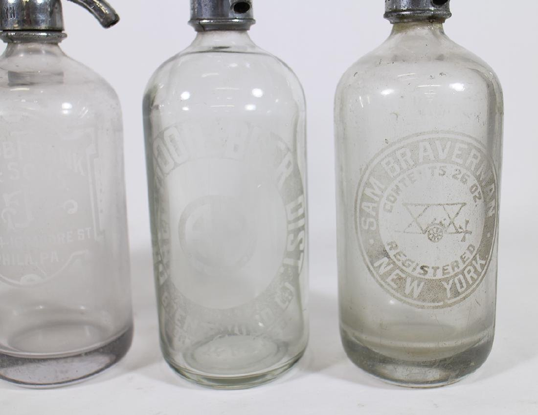 (4) ANTIQUE CLEAR GLASS SELTZER BOTTLES - 3
