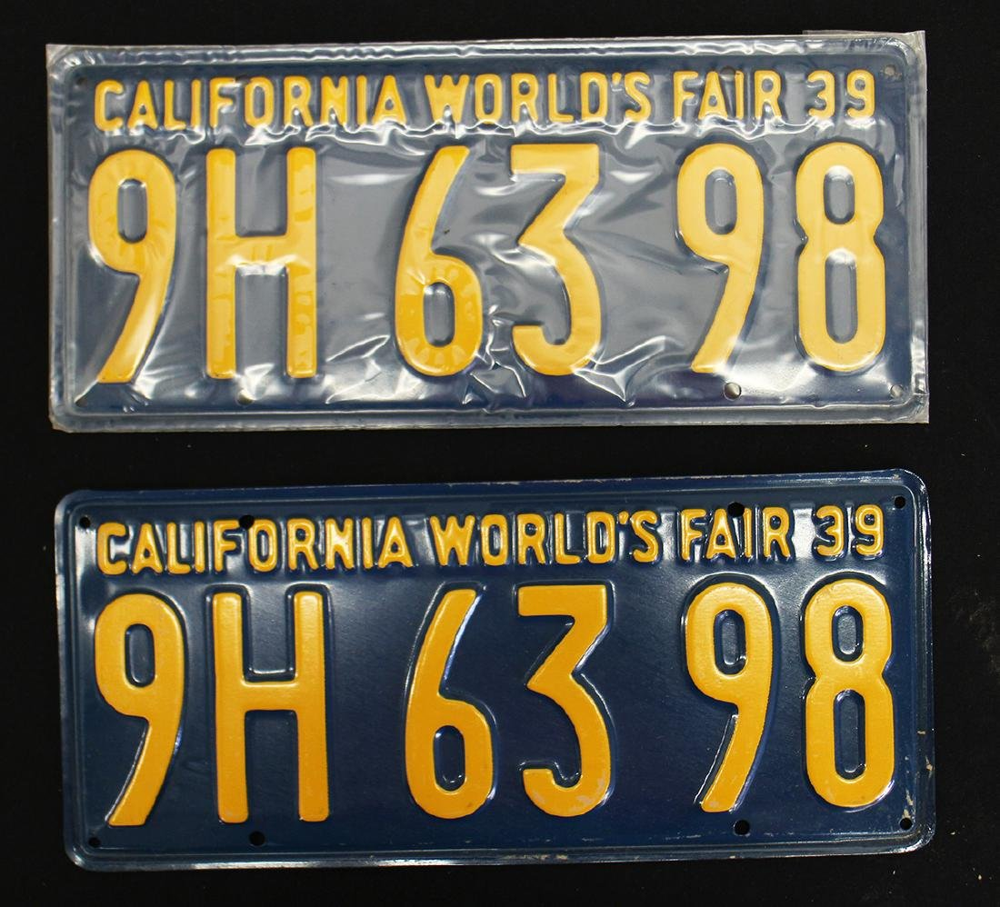 (2) 1939 CALIFORNIA WORLD'S FAIR LICENSE PLATES