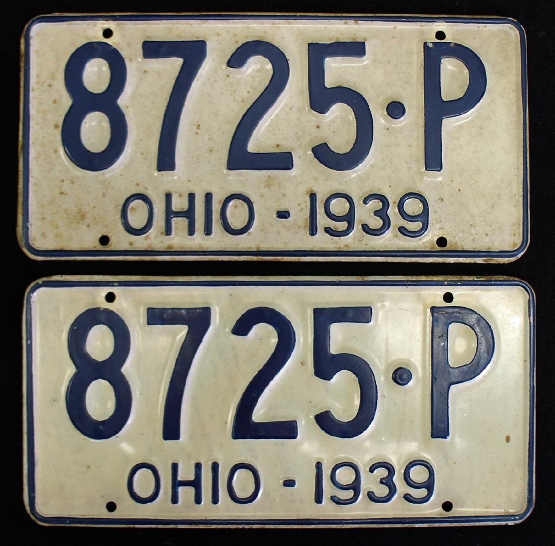 (2) 1939 OHIO LICENSE PLATES