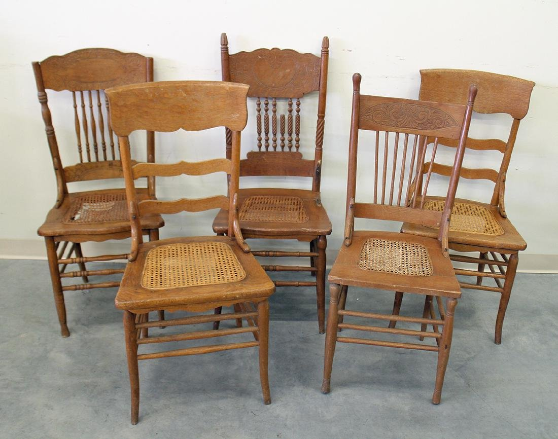 (5) ANTIQUE OAK CHAIRS