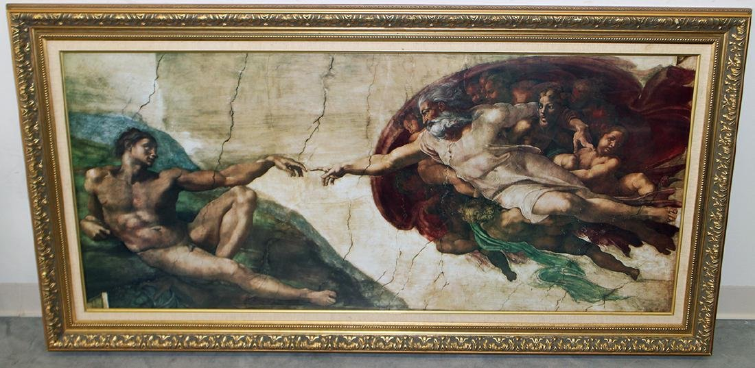 MICHELANGELO THE CREATION OF ADAM FRAMED PRINT