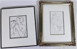 2 DRAWINGS ATTB TO JEAN COCTEAU