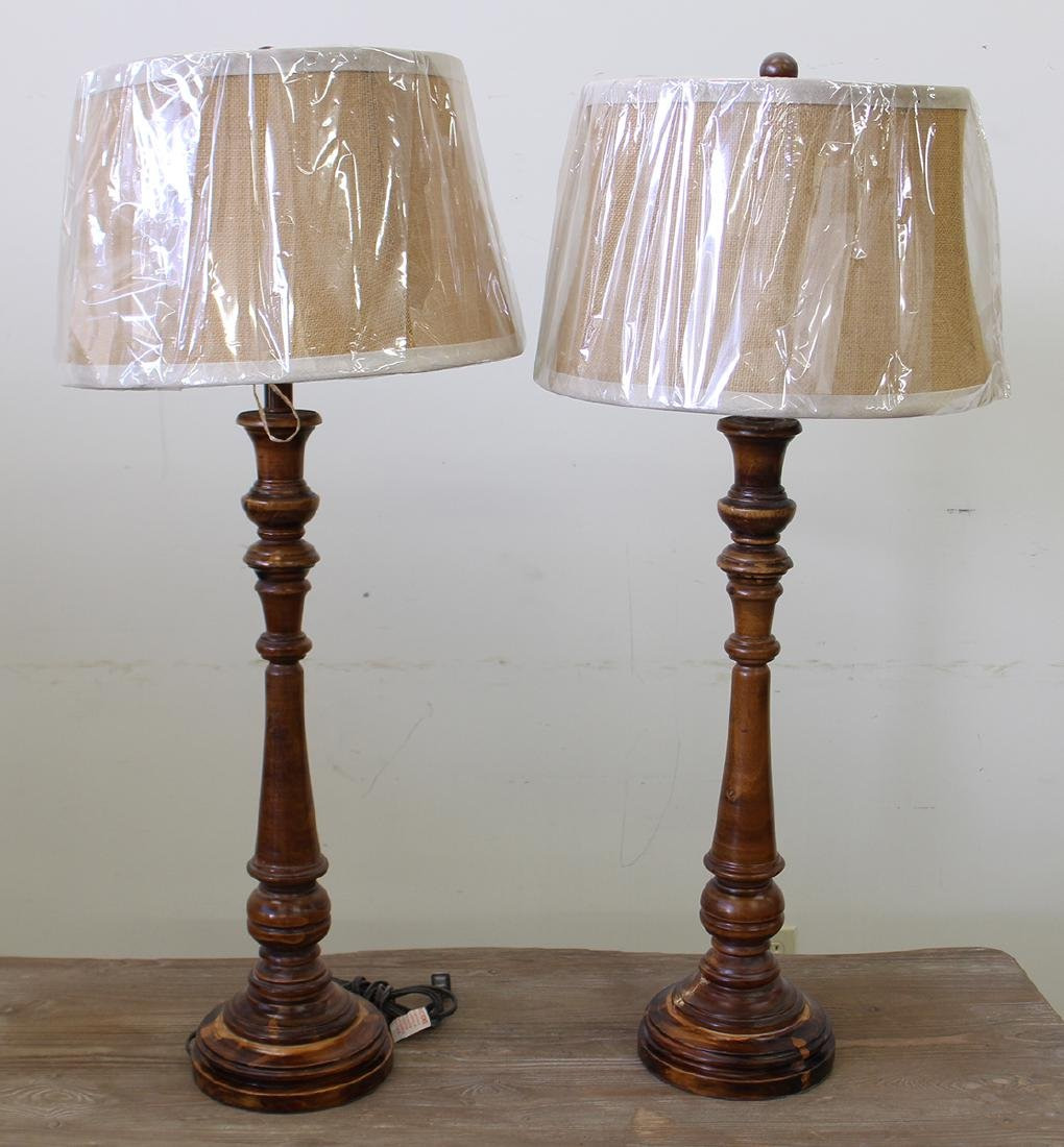 (2) WOOD LAMPS