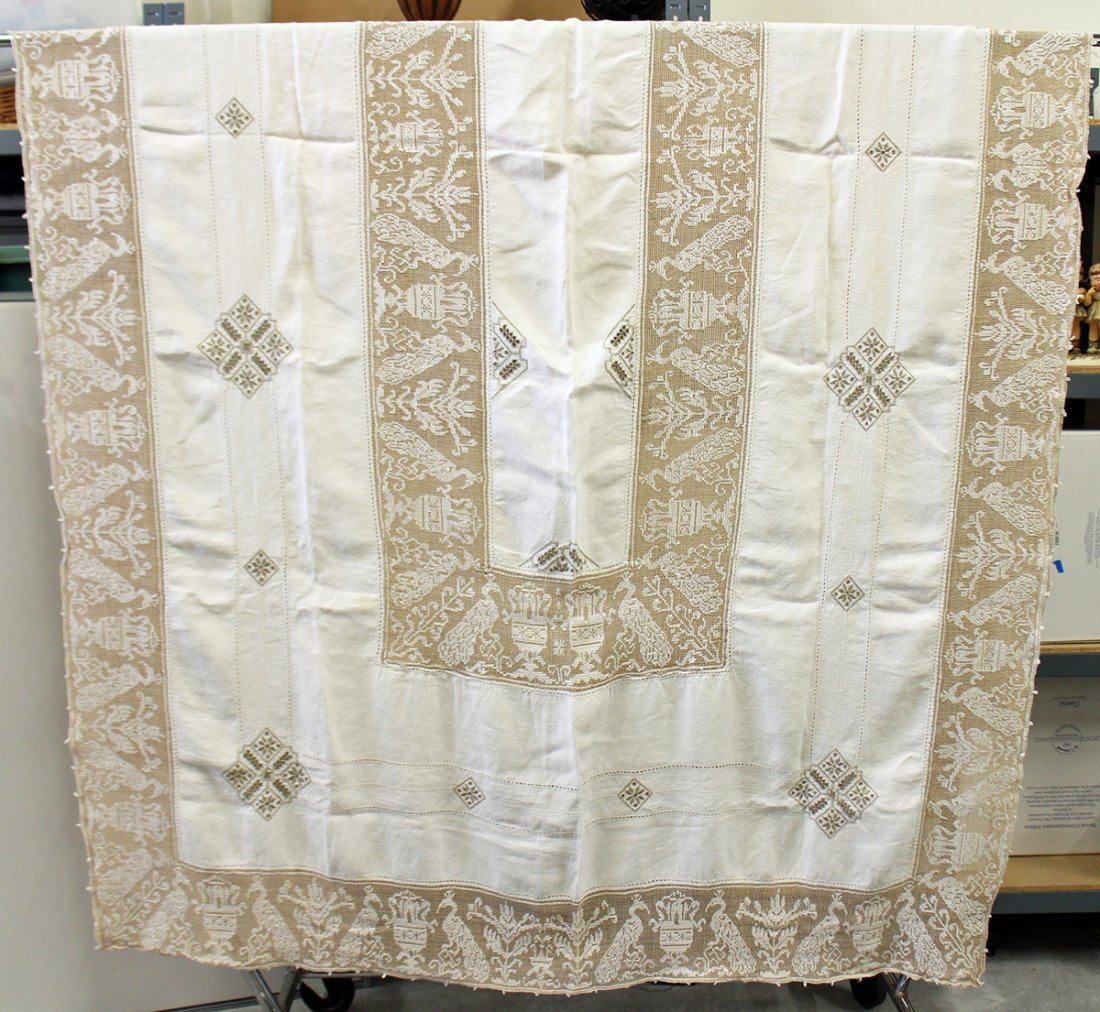 ANTIQUE EMBROIDERED LINEN NEEDLEPOINT TABLECLOTH