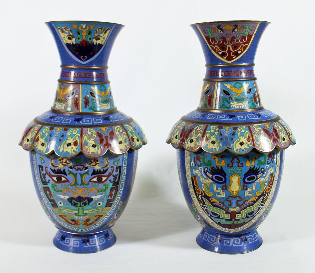 (2) CHINESE CLOISONNE VASES