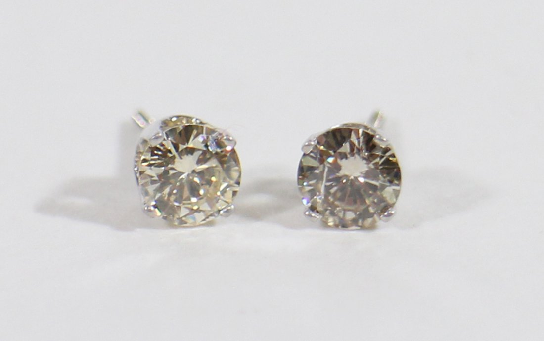 14KT .84 CT DIAMOND STUD EARRINGS