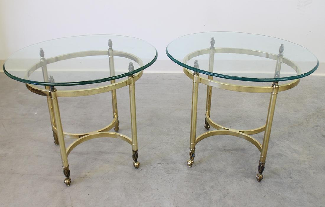 (2) BRASS & GLASS TOP SIDE TABLES