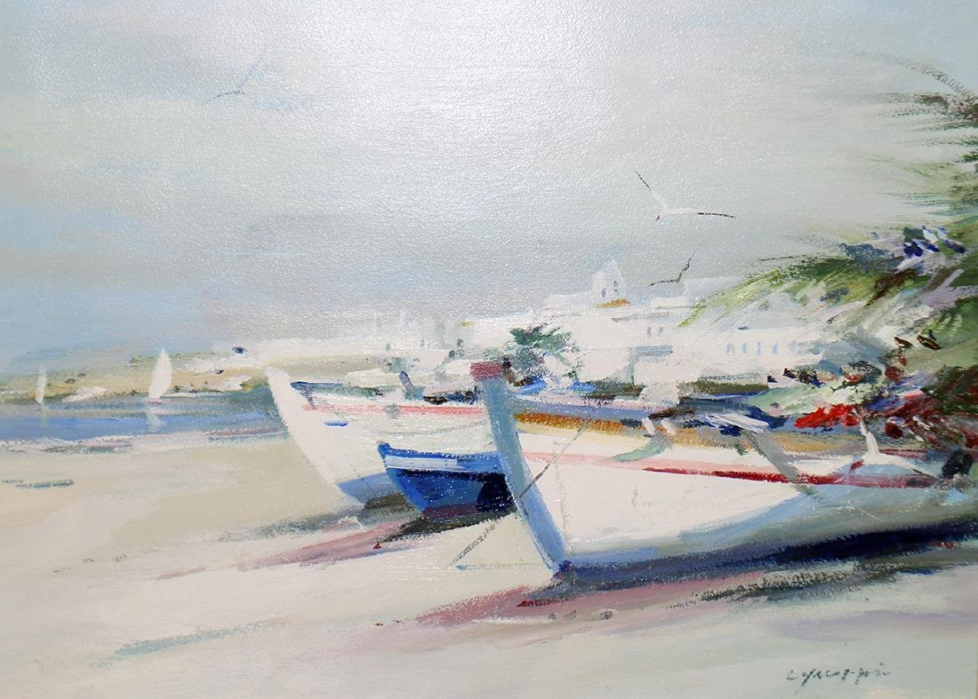 CHARLES GRUPPE BOATS AT PORTUGAL PAINTING