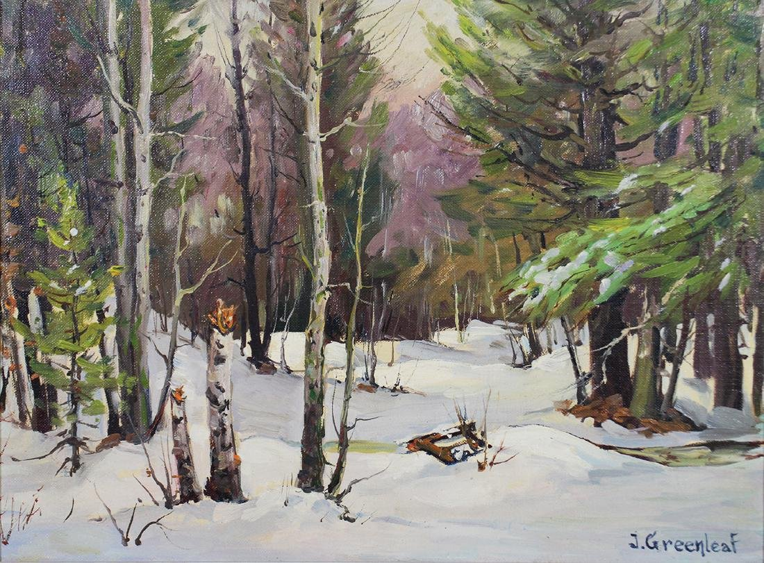 "JACOB GREENLEAF ""WOODLAND IN WINTER"" PAINTING"