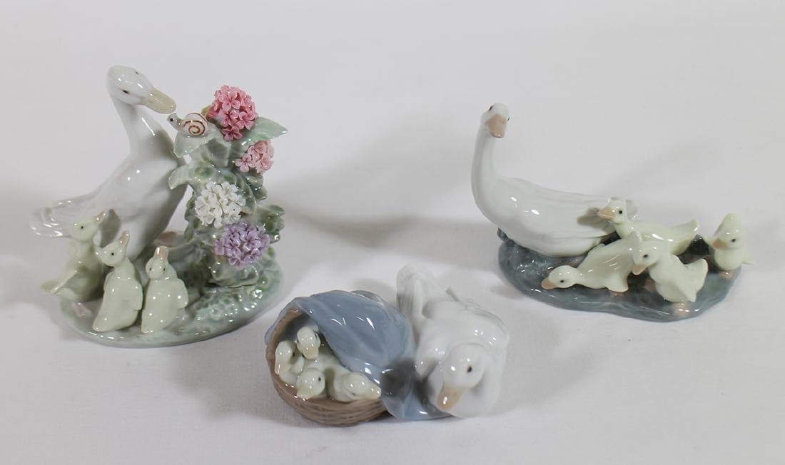 (3) LLADRO DUCK FIGURINES