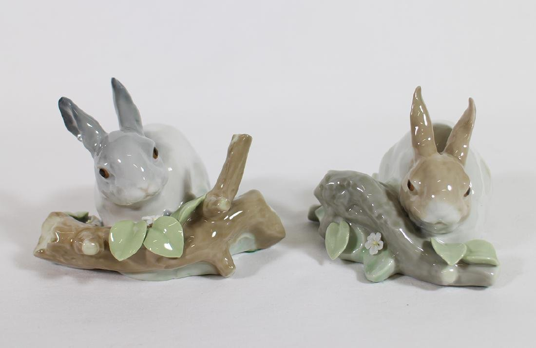 (2) LLADRO RABBIT FIGURINES
