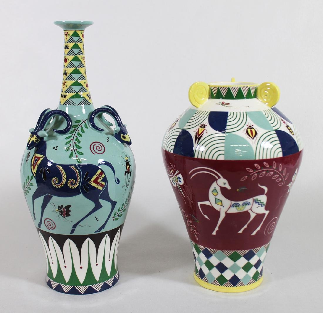 (2) JAPANESE STUDIO POTTERY VASES