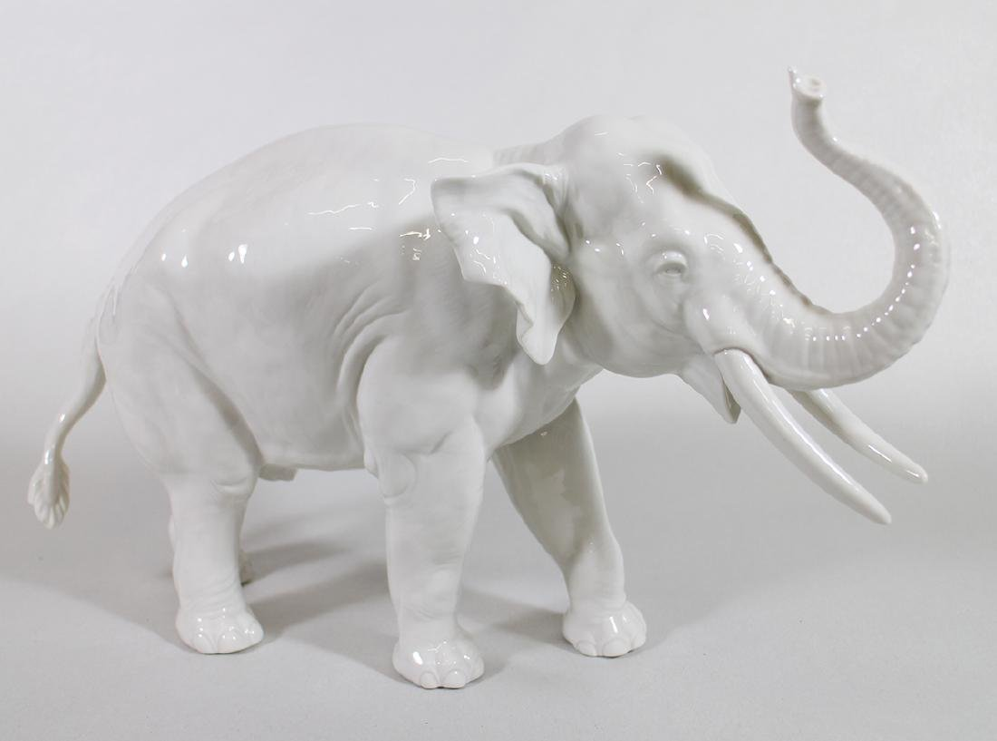 LARGE NYMPHENBURG PORCELAIN ELEPHANT