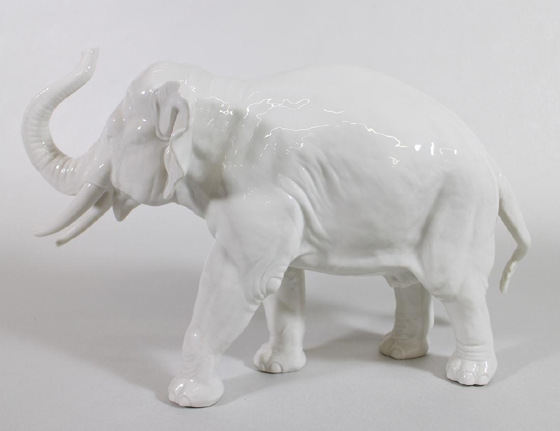 LARGE NYMPHENBURG PORCELAIN ELEPHANT - 2