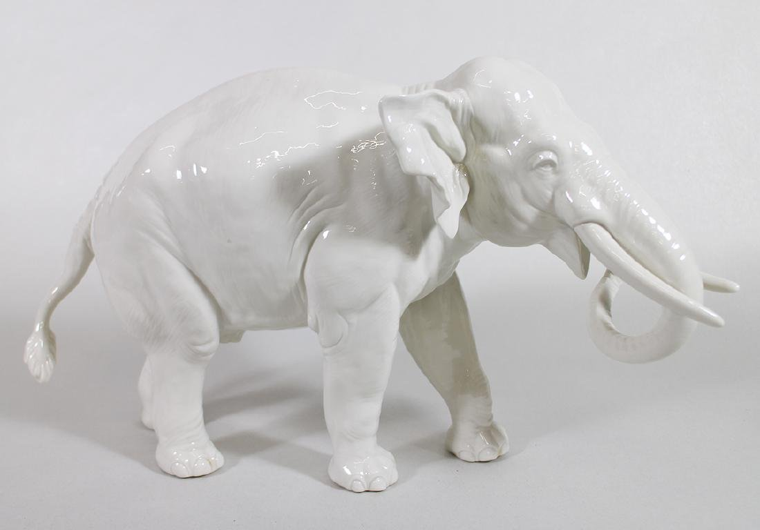 LARGE NYMPHENBURG PORCELAIN ELEPHANT