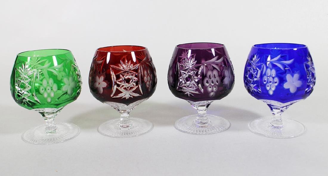 (4) BOHEMIAN CUT TO CLEAR BRANDY SNIFTER GLASSES