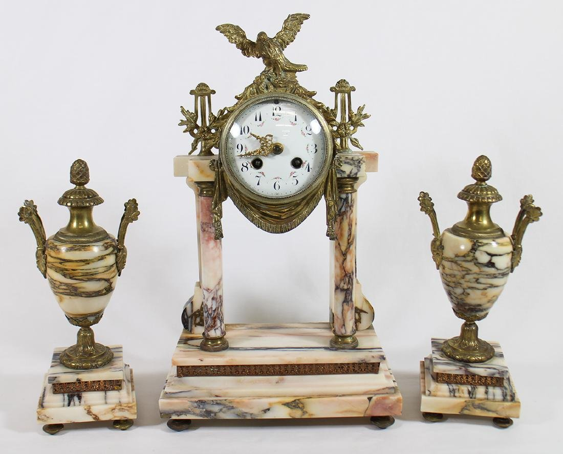 FRENCH CLOCK & GARNITURE SET