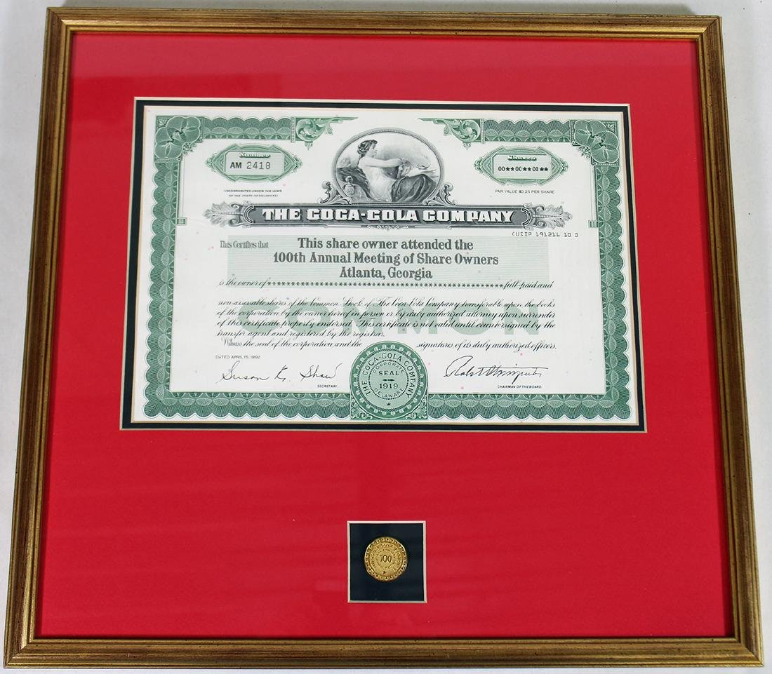 COCA COLA 100TH ANNUAL SHAREHOLDER CERTIFICATE