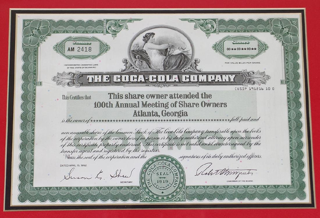COCA COLA 100TH ANNUAL SHAREHOLDER CERTIFICATE - 2