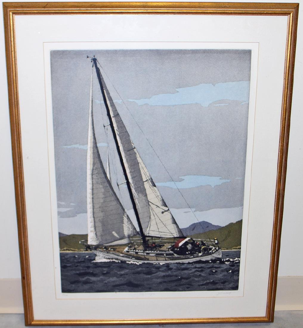 SIGNED SAILBOAT ETCHING