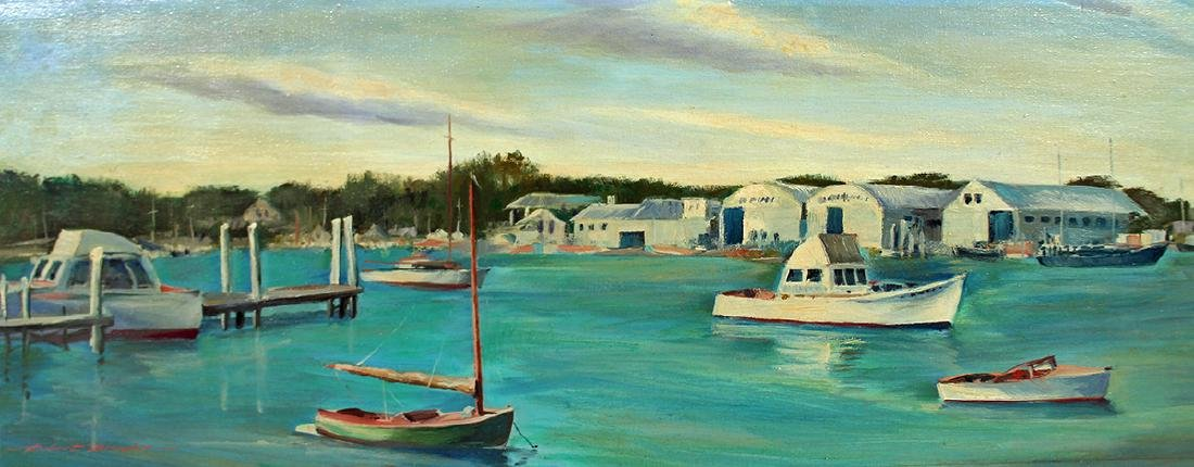 ROBERT BROOKS CROSBY BOAT YARD OSTERVILLE PAINTING