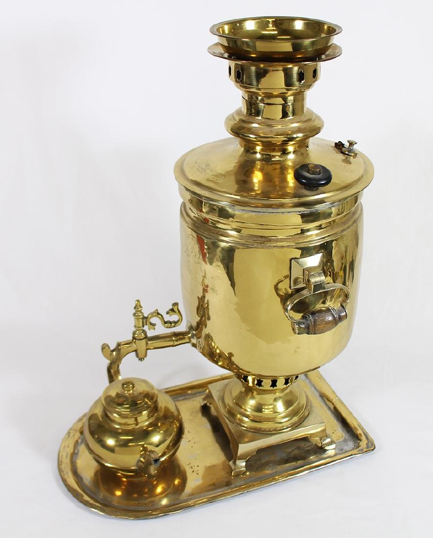 RUSSIAN BRASS SAMOVAR WITH TRAY - 2