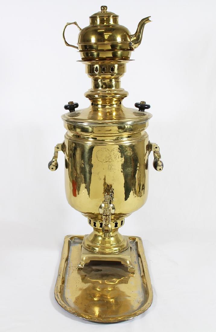 RUSSIAN BRASS SAMOVAR WITH TRAY - 3