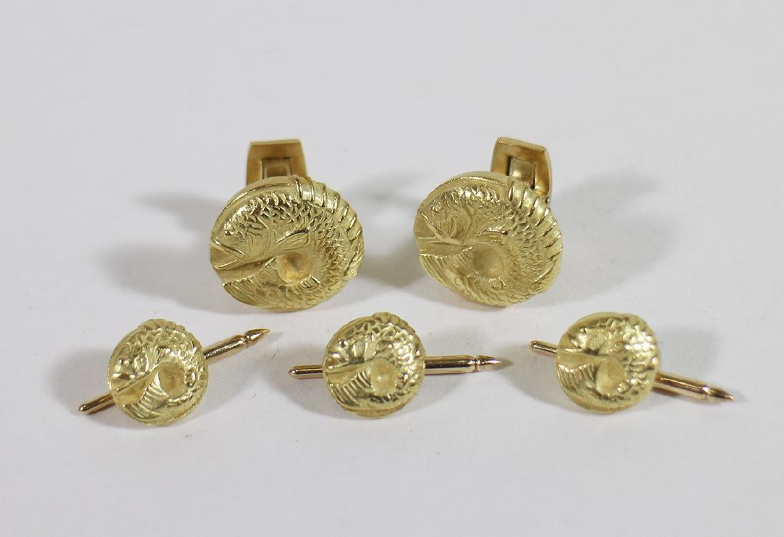 18K BARRY KIESELSTEIN CORD FISH CUFFLINK SET
