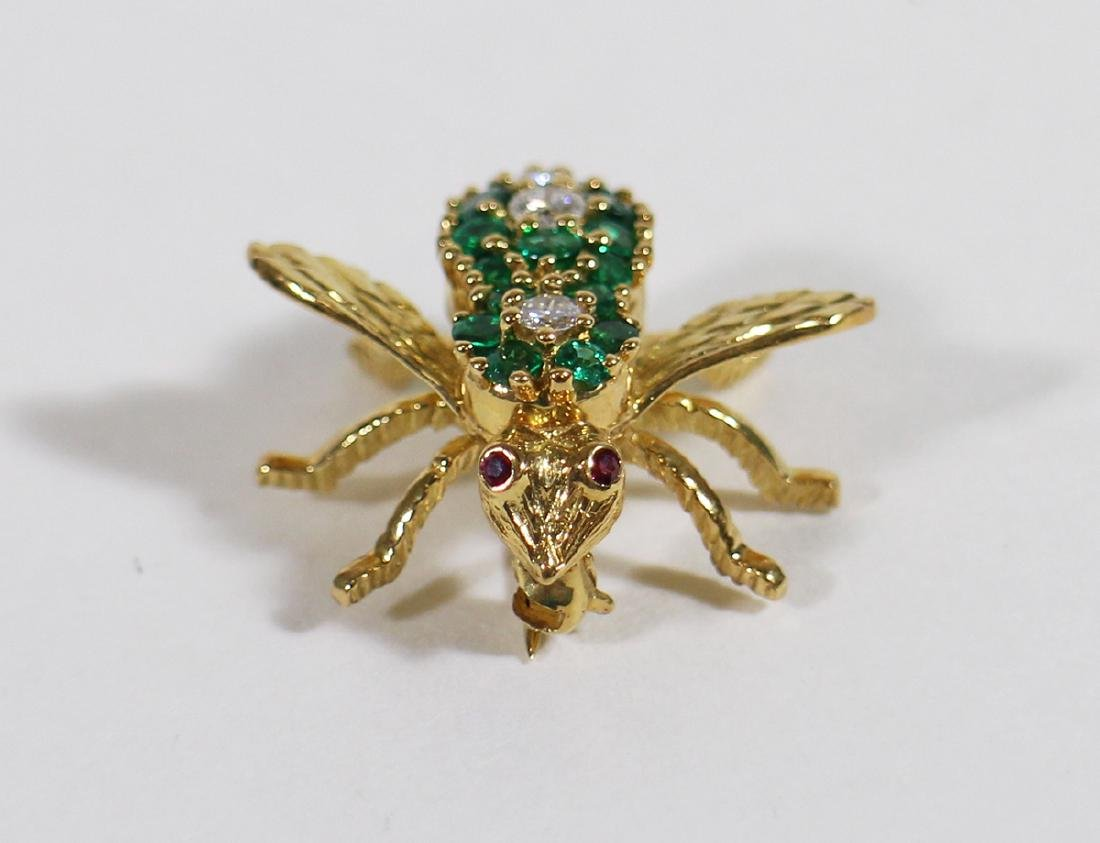 TIFFANY & CO 18K GOLD EMERALD BEE BROOCH